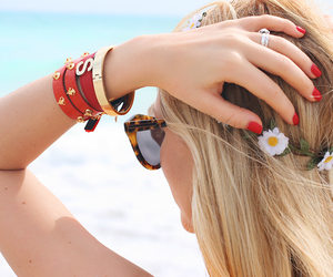 beach, beauty, and flower image