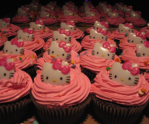 cupcake, hello kitty, and pink image