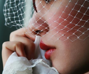 birdcage veil, netting, and scarf image