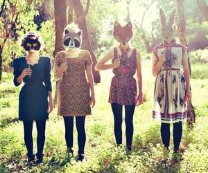 girl, animal, and mask image