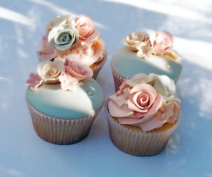cupcake, flowers, and cake image
