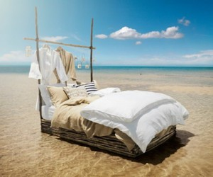 bed, sea, and beach image