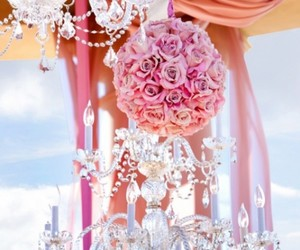 chandelier, wedding, and flowers image