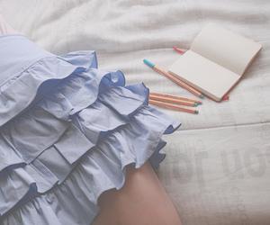 pen, girl, and skirt image