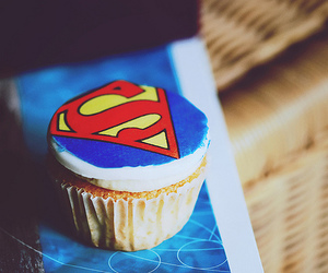 superman, cupcake, and food image