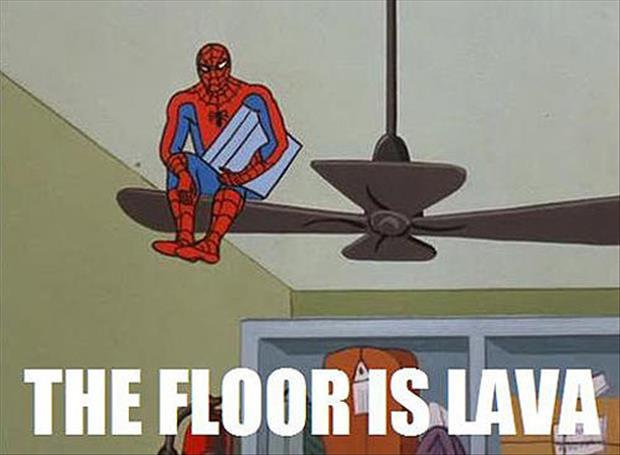 spiderman, lava, and funny image