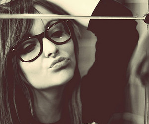 girl, glasses, and mirror image
