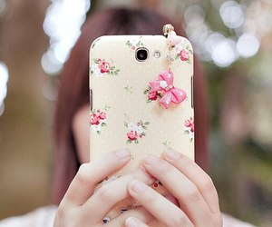pink, case, and floral image