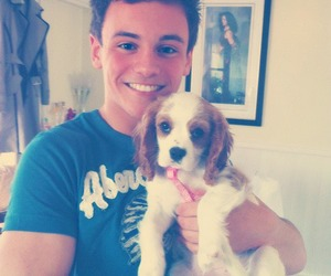 tom daley, dog, and boy image