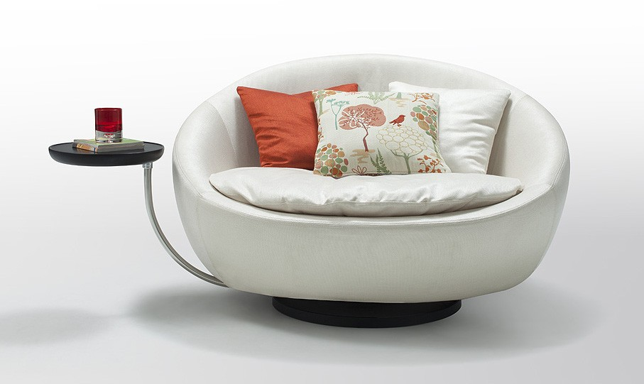 Modern Fabric Lounge u0026 Chaise furniture in White - Features Round shaped Modern Fabric Chair and End table Beautiful Egg-Shaped Design Includes three ...  sc 1 st  We Heart It : round chaise - Sectionals, Sofas & Couches