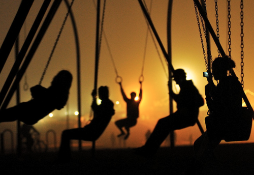 silhouettes and swings image