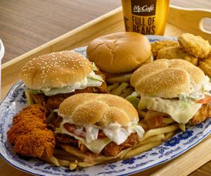 food, burger, and mac image