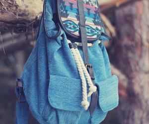 bag, blue, and backpack image