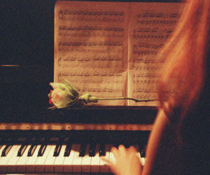 girl, music, and piano image