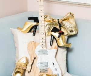 fashion, gold, and guitar image