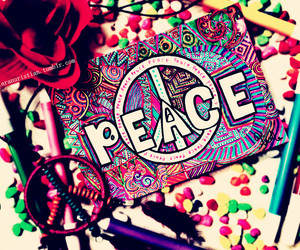 art, girl, and peace image
