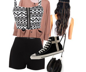 Polyvore, aztec print, and converse are amazing image