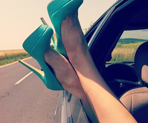 blue, blue shoes, and car image