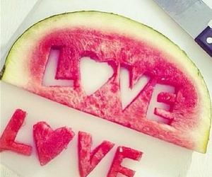 fruit, knife, and watermelon image
