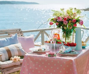 flowers, sea, and breakfast image