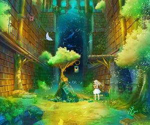 girl, anime, and tree image