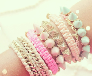 cute, bracelet, and pink image