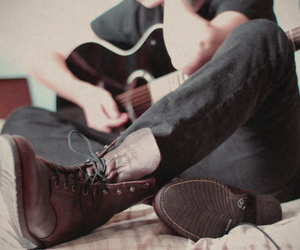 boots, boy, and guitar image