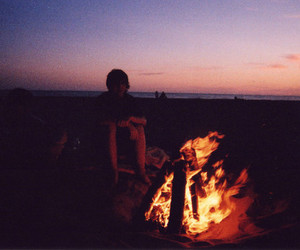 fire, boy, and beach image