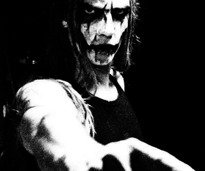 black and white, corpse paint, and long hair image