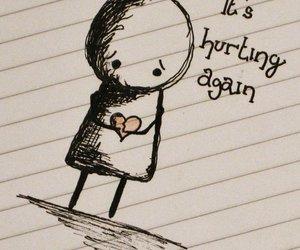 hurt, heart, and sad image