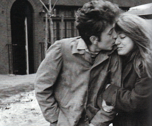bob dylan, kiss, and black and white image