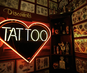 tattoo, neon, and heart image