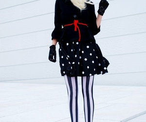 blonde, stripes, and dots image