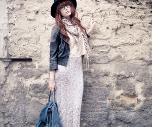 hat, leather jacket, and maxi skirt image