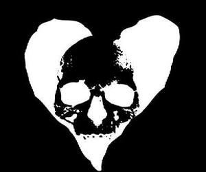 heart, love hate, and skull image