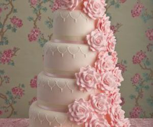 cake, pink, and wedding image