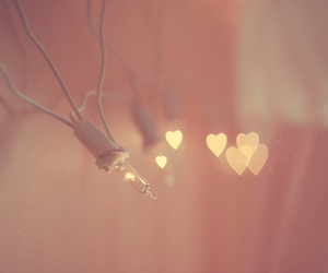 light, heart, and pink image