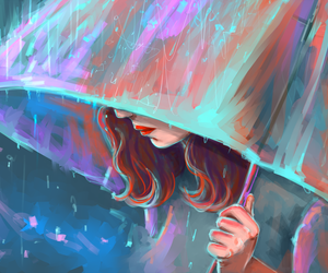 rain, girl, and umbrella image