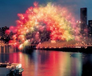 fireworks, rainbow, and city image