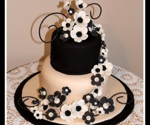 black and white, cake, and flower image