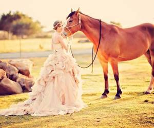 dress, horse, and Vera Wang image