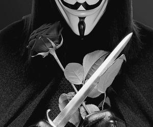 v for vendetta, black and white, and v image