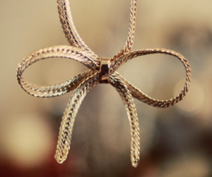 bow, necklace, and gold image