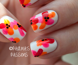 nails, flowers, and orange image