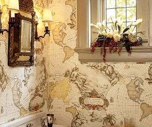 map, bathroom, and wallpaper image