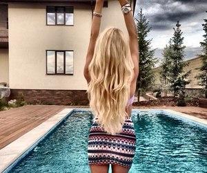 blonde, hair, and pool image