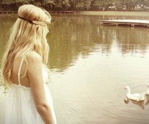 girl, blonde, and lake image