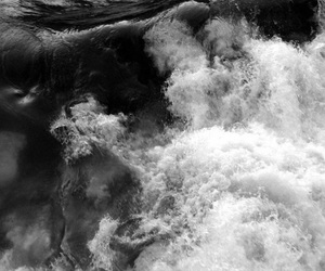 black and white, waves, and escape image