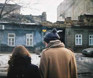 couple, boy, and winter image