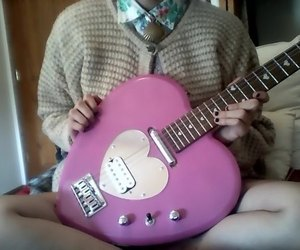 guitar, heart, and pink image